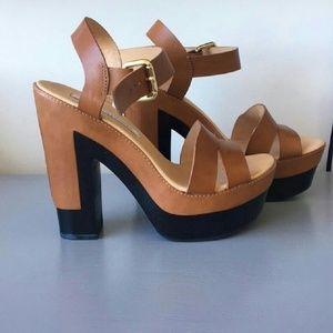 Diane von Furstenberg Brown Roxan Sandals Platform